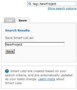 Saving a Smart List
